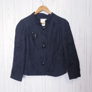 Tracy Reese Embroidered Beaded Silk Jacket